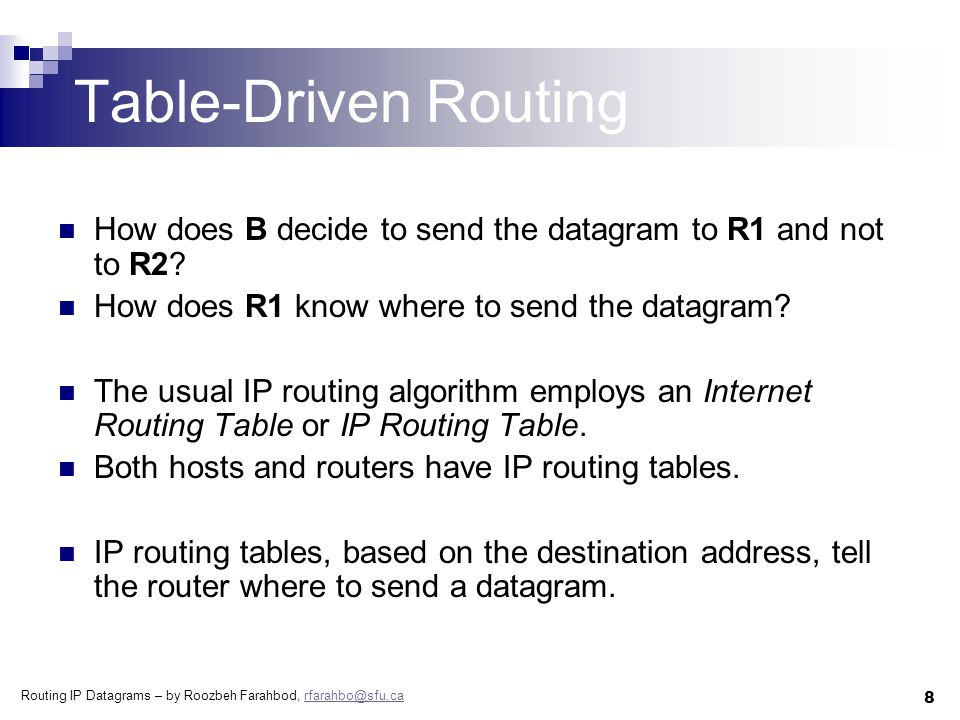 Routing IP Datagrams – by Roozbeh Farahbod, rfarahbo@sfu.carfarahbo@sfu.ca 8 Table-Driven Routing How does B decide to send the datagram to R1 and not to R2.