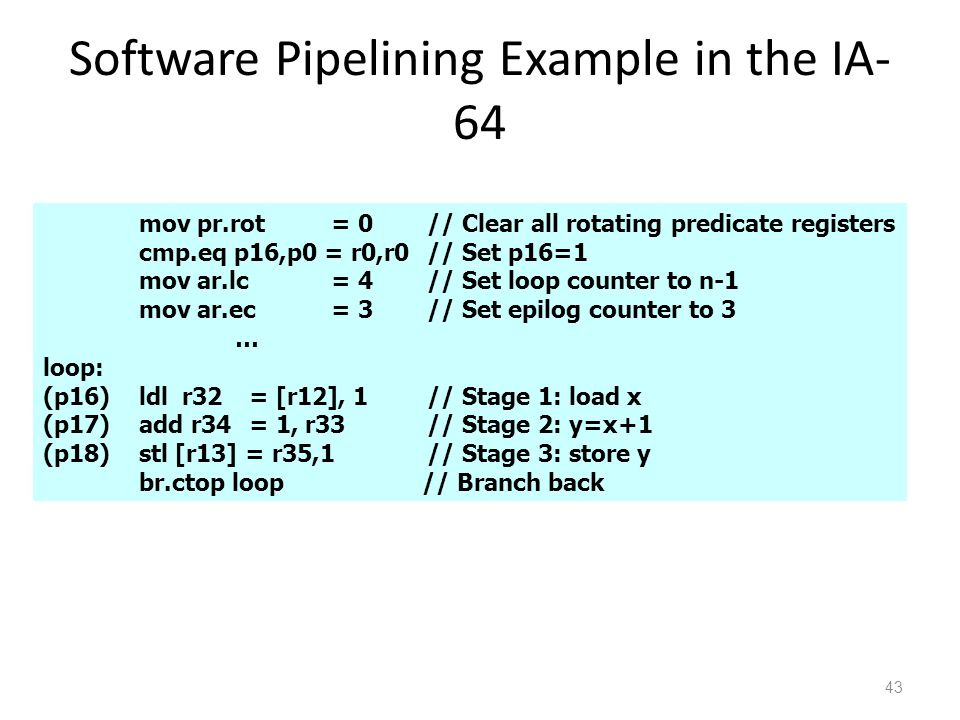 Software Pipelining Example in the IA- 64 43 mov pr.rot= 0// Clear all rotating predicate registers cmp.eq p16,p0 = r0,r0// Set p16=1 mov ar.lc= 4// Set loop counter to n-1 mov ar.ec= 3// Set epilog counter to 3 … loop: (p16)ldl r32 = [r12], 1// Stage 1: load x (p17)add r34 = 1, r33// Stage 2: y=x+1 (p18)stl [r13] = r35,1// Stage 3: store y br.ctop loop // Branch back