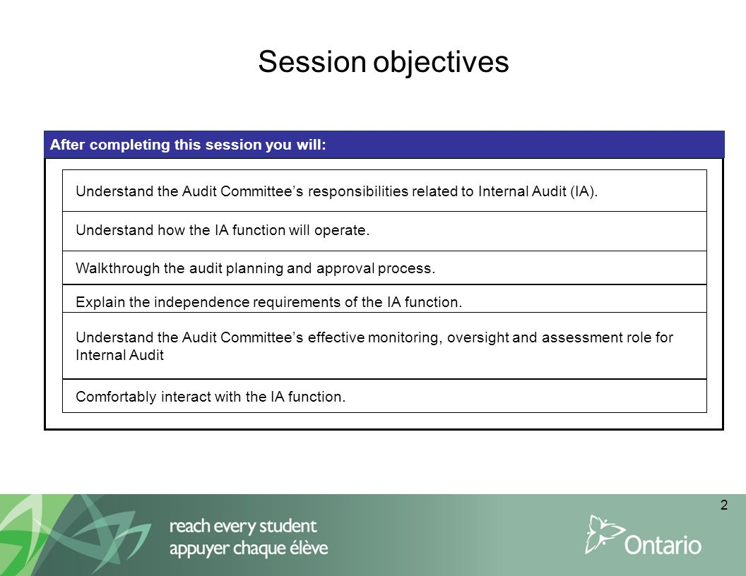 Audit Committee Duties related to the Internal Auditor [ON Regulation 361/10 9(3)] To review the Internal Auditor's mandate, activities, staffing and organizational structure.
