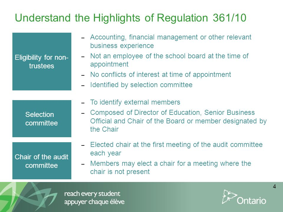 4 Understand the Highlights of Regulation 361/10 Eligibility for non- trustees – Accounting, financial management or other relevant business experience – Not an employee of the school board at the time of appointment – No conflicts of interest at time of appointment – Identified by selection committee Selection committee Chair of the audit committee – To identify external members – Composed of Director of Education, Senior Business Official and Chair of the Board or member designated by the Chair – Elected chair at the first meeting of the audit committee each year – Members may elect a chair for a meeting where the chair is not present