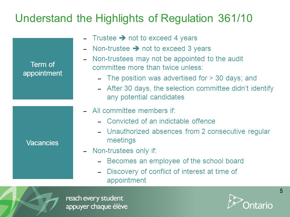 6 Understand the Highlights of Regulation 361/10 Duties – Financial reporting process – Internal controls – Internal audit – External audit – Compliance and ethics – Risk management Powers – With prior board of trustees approval, retain counsel, accountants or other professionals – Meet with any person necessary to carry out duties – Meet with external and internal audit in private – Require internal and external auditors to provide reports to the committee – Have access to all records of the board reviewed by internal or external audit