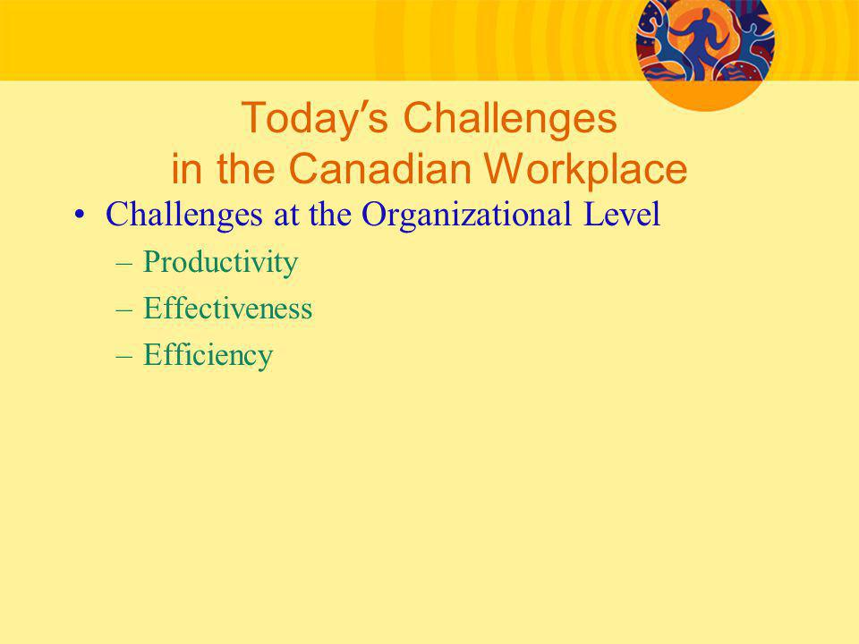 Today ' s Challenges in the Canadian Workplace Challenges at the Organizational Level –Productivity –Effectiveness –Efficiency