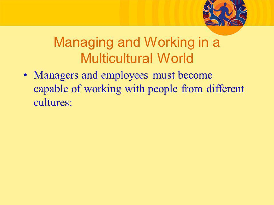 Managing and Working in a Multicultural World Managers and employees must become capable of working with people from different cultures: