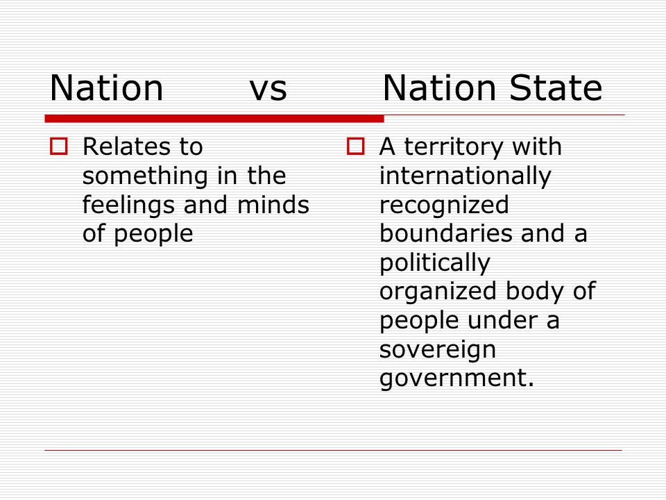 Nation vs Nation State  Relates to something in the feelings and minds of people  A territory with internationally recognized boundaries and a polit