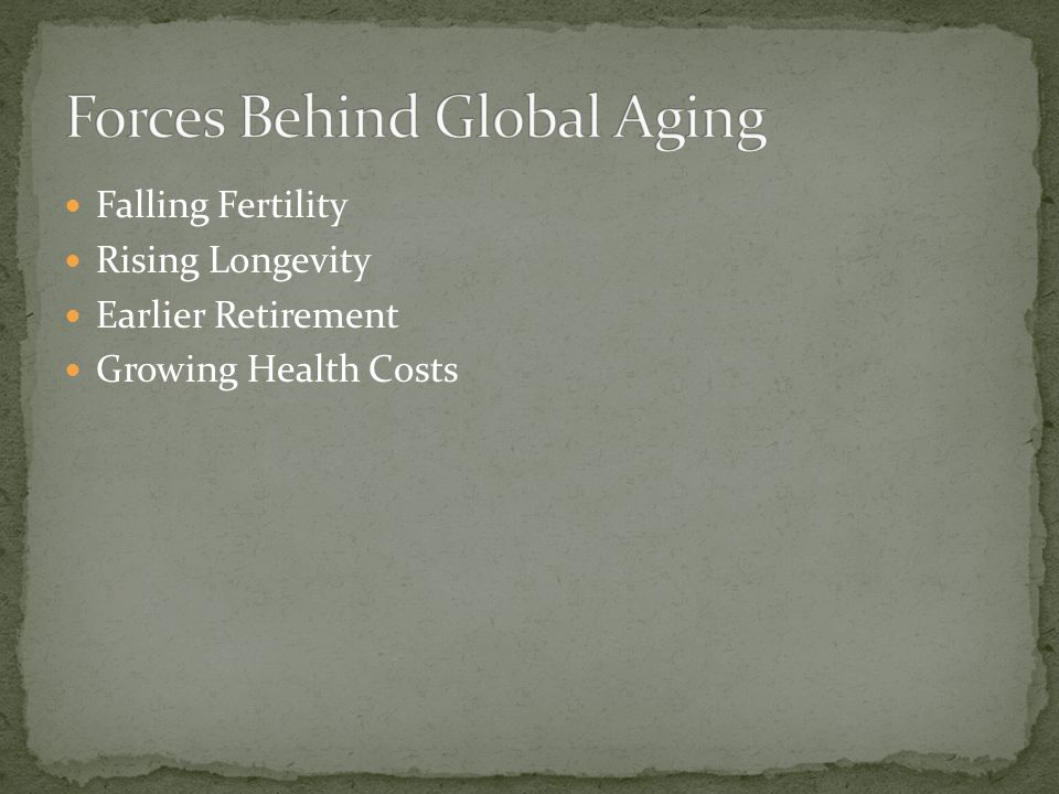 Falling Fertility Rising Longevity Earlier Retirement Growing Health Costs