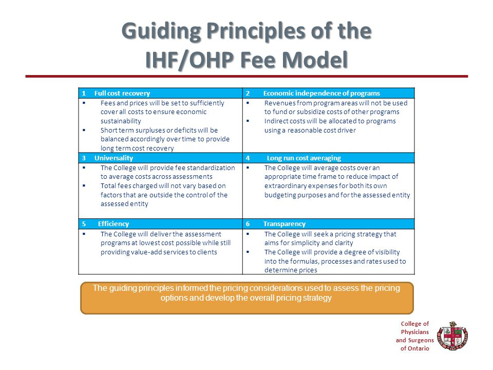 College of Physicians and Surgeons of Ontario Guiding Principles of the IHF/OHP Fee Model 1 Full cost recovery2 Economic independence of programs  Fees and prices will be set to sufficiently cover all costs to ensure economic sustainability  Short term surpluses or deficits will be balanced accordingly over time to provide long term cost recovery  Revenues from program areas will not be used to fund or subsidize costs of other programs  Indirect costs will be allocated to programs using a reasonable cost driver 3 Universality4 Long run cost averaging  The College will provide fee standardization to average costs across assessments  Total fees charged will not vary based on factors that are outside the control of the assessed entity  The College will average costs over an appropriate time frame to reduce impact of extraordinary expenses for both its own budgeting purposes and for the assessed entity 5 Efficiency6 Transparency  The College will deliver the assessment programs at lowest cost possible while still providing value-add services to clients  The College will seek a pricing strategy that aims for simplicity and clarity  The College will provide a degree of visibility into the formulas, processes and rates used to determine prices The guiding principles informed the pricing considerations used to assess the pricing options and develop the overall pricing strategy