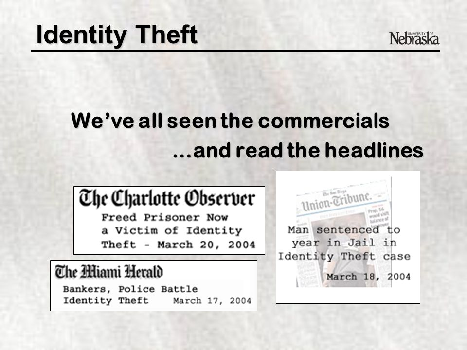 Identity Theft © 2003 Citibank, N.A. Used with permission.