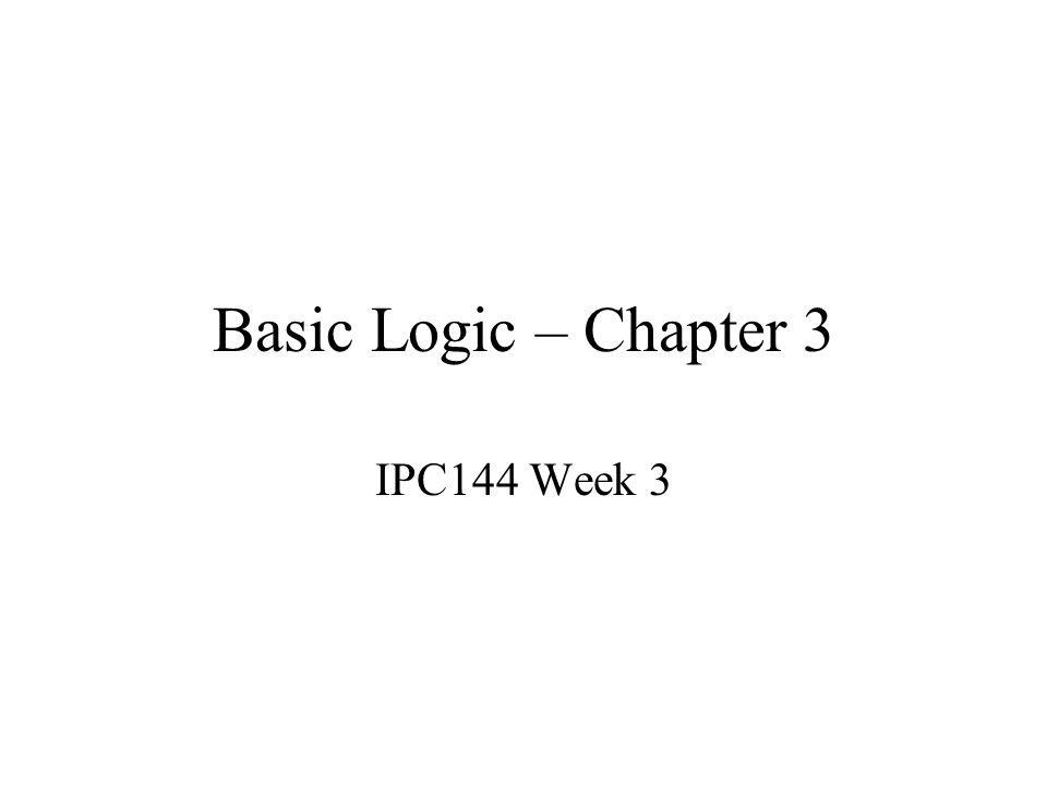 Basic Logic – Chapter 3 IPC144 Week 3