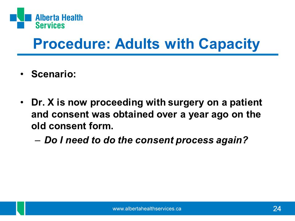 24 Procedure: Adults with Capacity Scenario: Dr. X is now proceeding with surgery on a patient and consent was obtained over a year ago on the old con