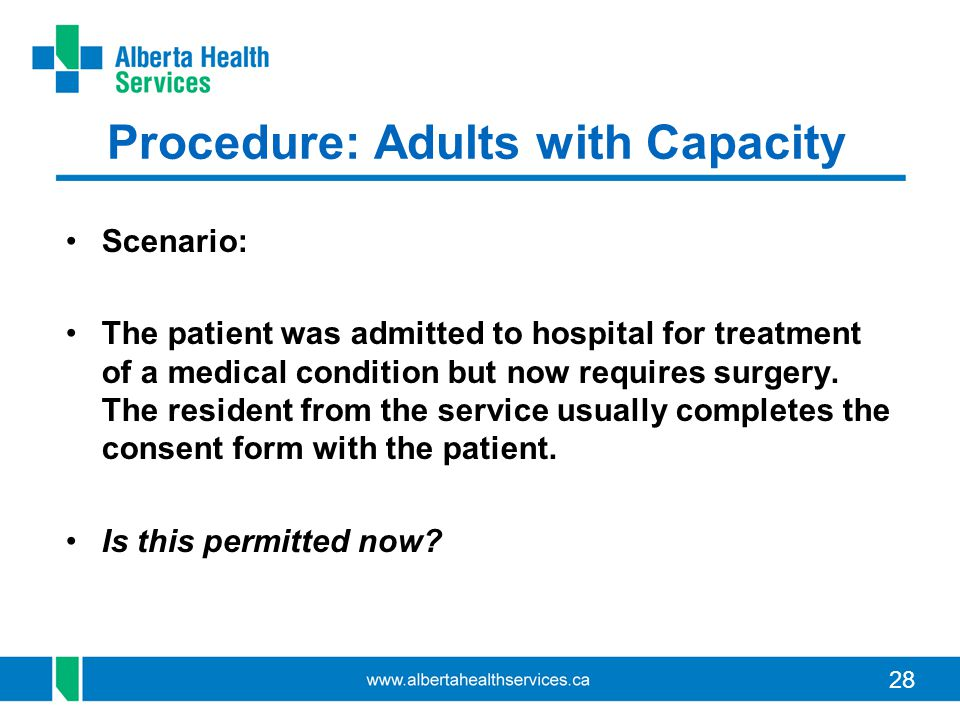 28 Procedure: Adults with Capacity Scenario: The patient was admitted to hospital for treatment of a medical condition but now requires surgery. The r