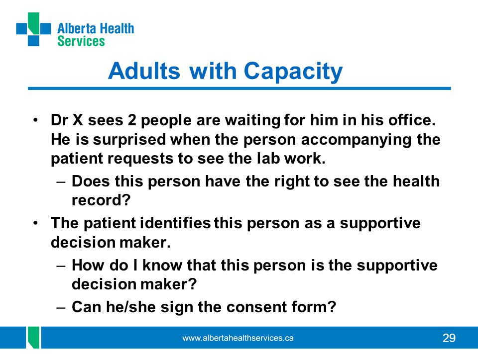 29 Adults with Capacity Dr X sees 2 people are waiting for him in his office. He is surprised when the person accompanying the patient requests to see