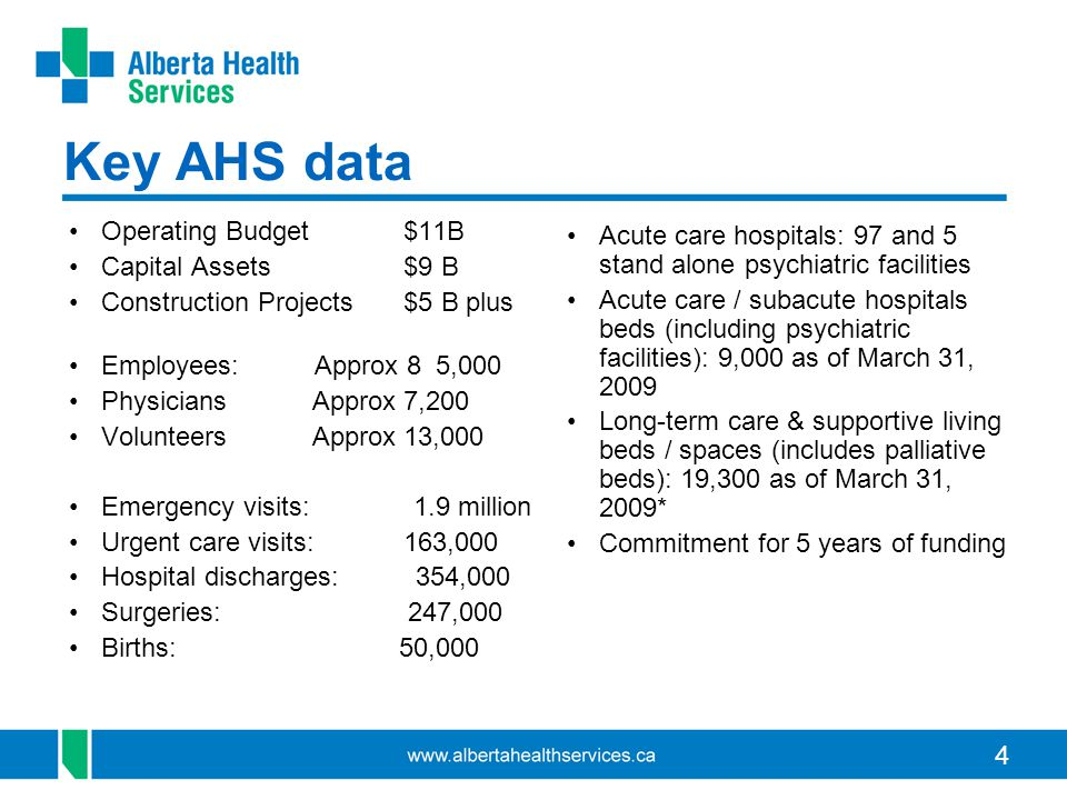 4 Key AHS data Operating Budget $11B Capital Assets $9 B Construction Projects $5 B plus Employees: Approx 8 5,000 Physicians Approx 7,200 Volunteers
