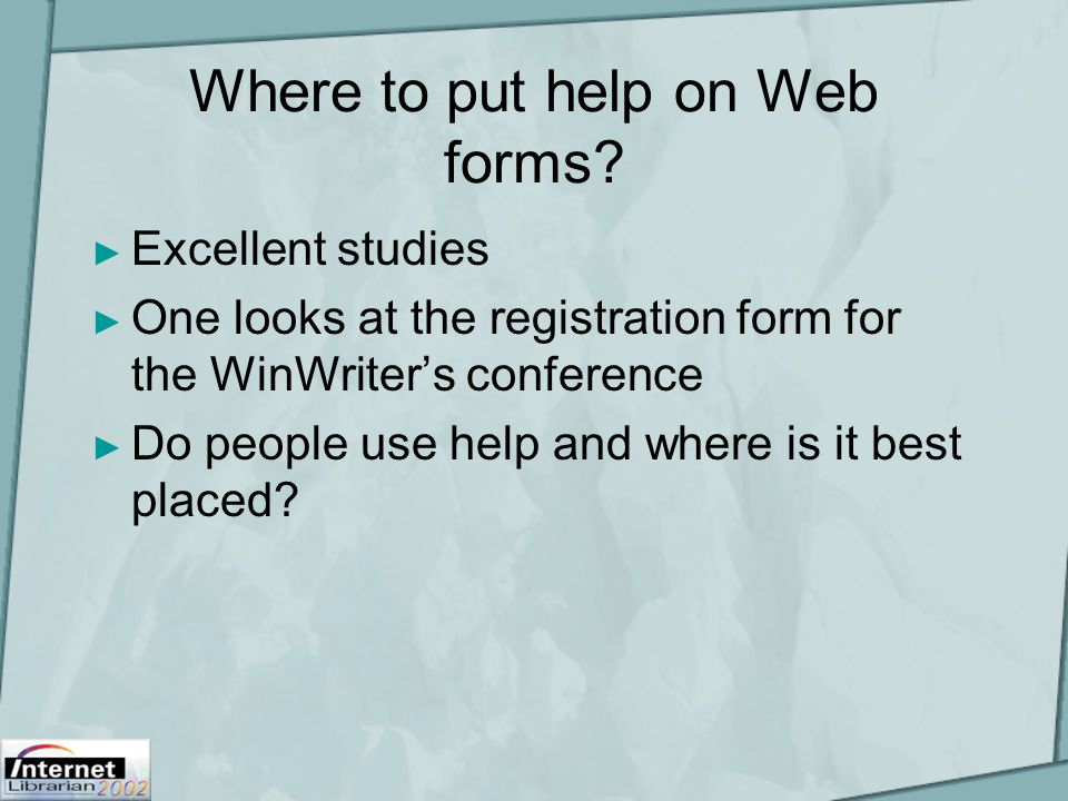 Where to put help on Web forms.