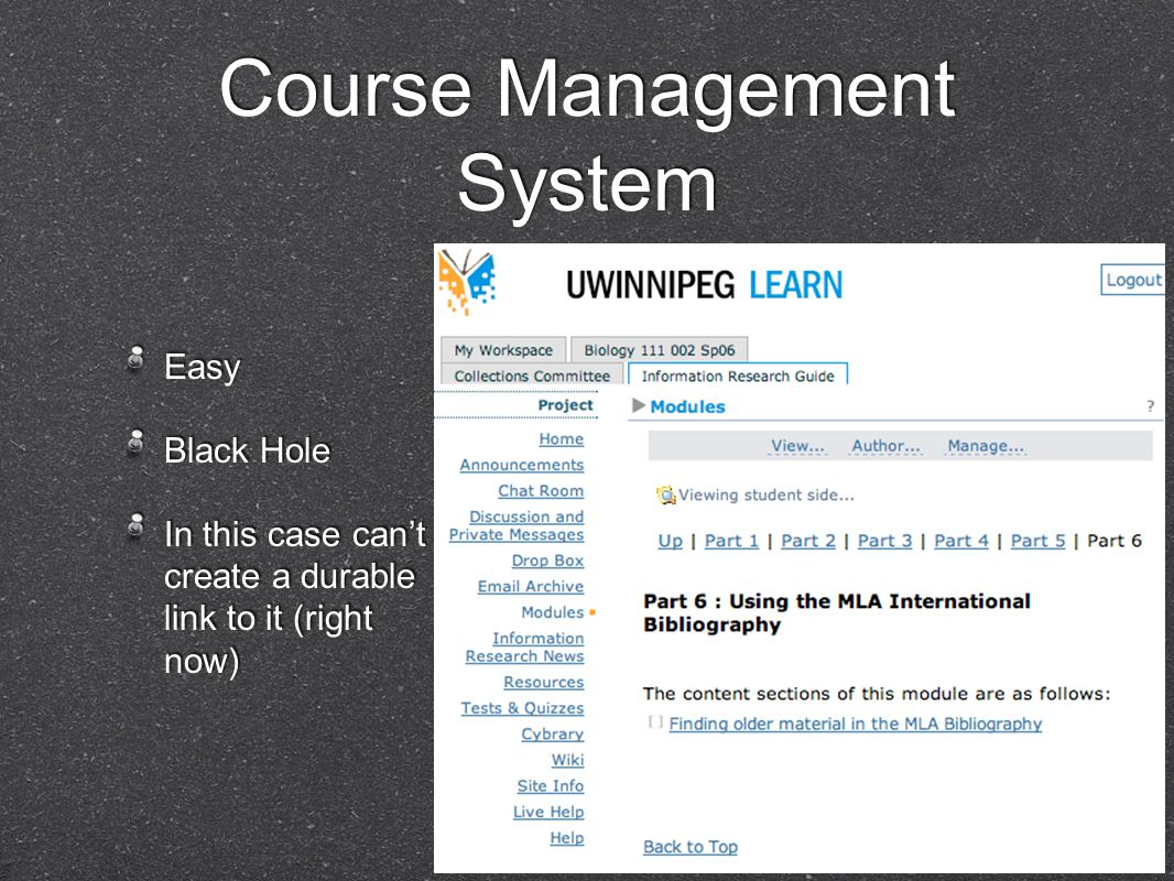 Course Management System Easy Black Hole In this case can't create a durable link to it (right now) Easy Black Hole In this case can't create a durable link to it (right now)