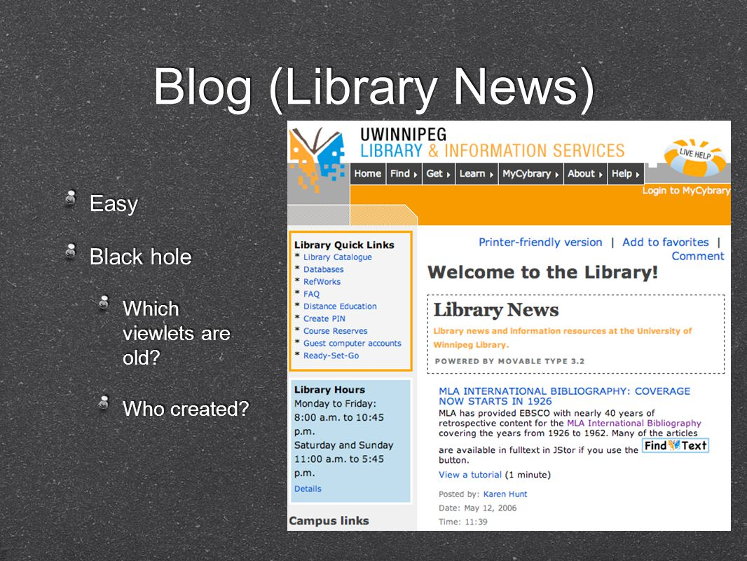 Blog (Library News) Easy Black hole Which viewlets are old.