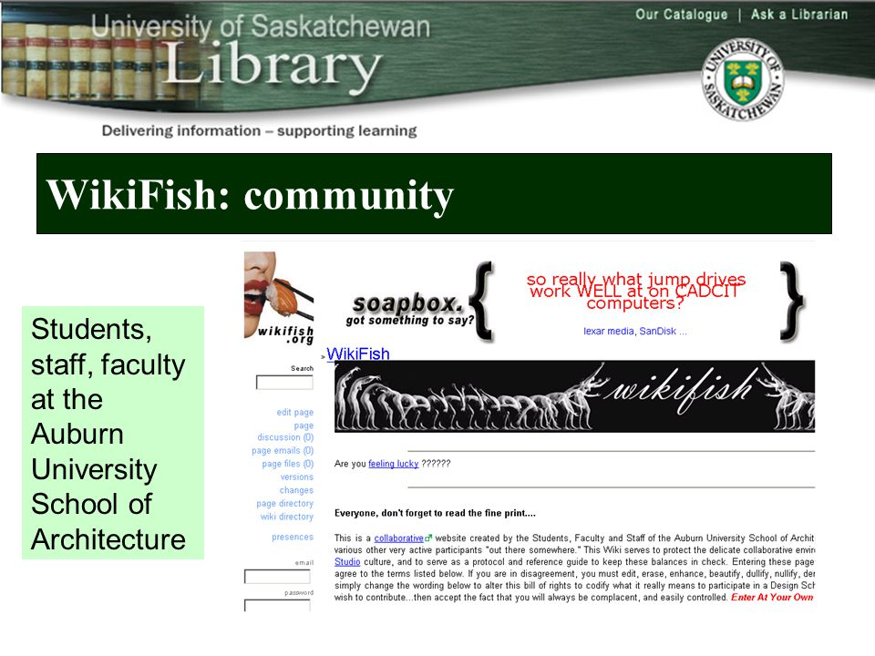 WikiFish: community Students, staff, faculty at the Auburn University School of Architecture