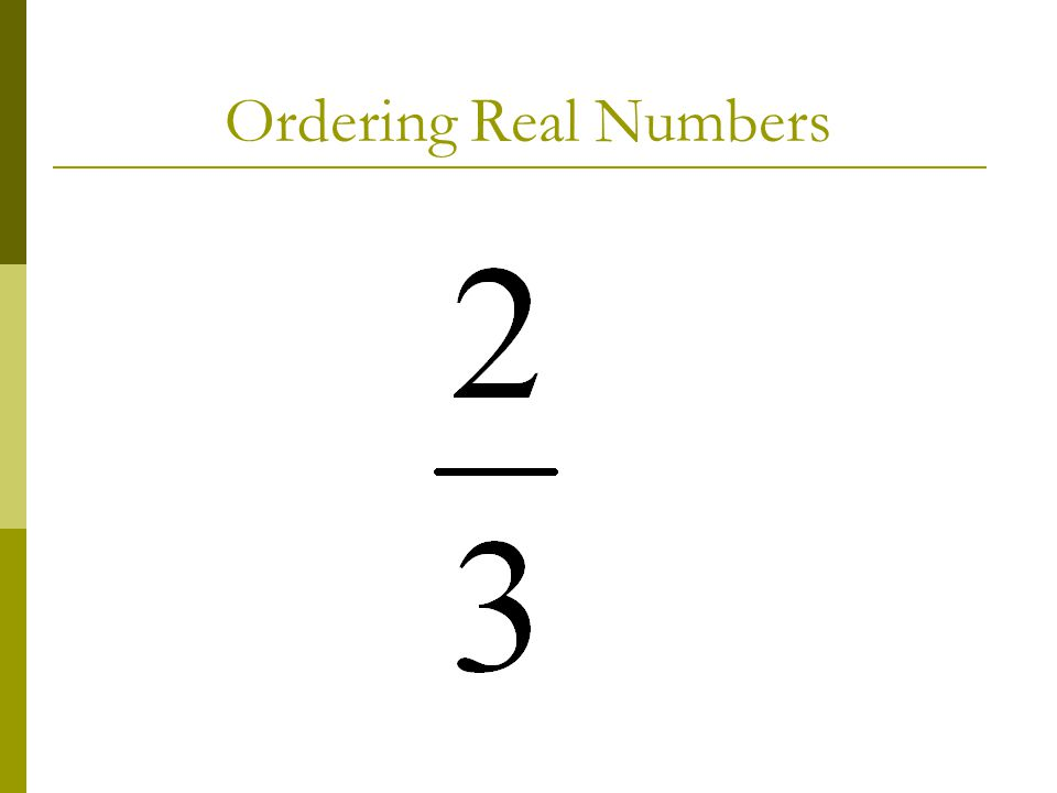 Ordering Real Numbers