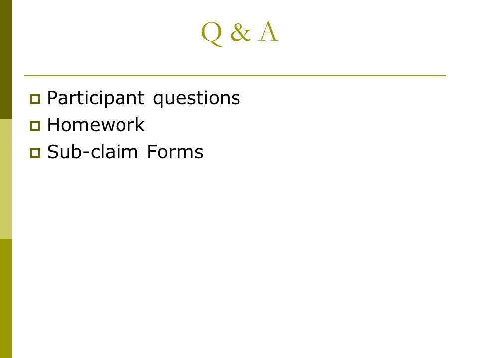 Q & A  Participant questions  Homework  Sub-claim Forms