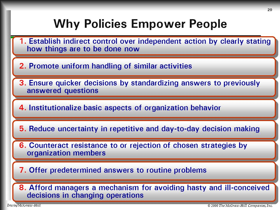 © 2000 The McGraw-Hill Companies, Inc. Irwin/McGraw-Hill 29 Why Policies Empower People 1. Establish indirect control over independent action by clear