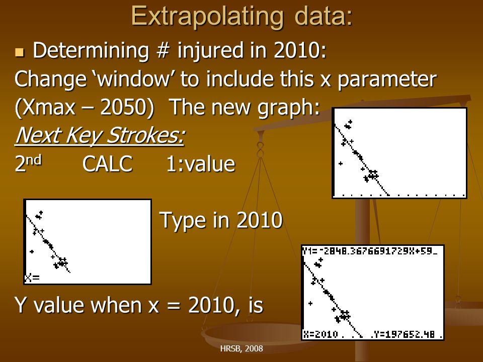 HRSB, 2008 Extrapolating data: Determining # injured in 2010: Determining # injured in 2010: Change 'window' to include this x parameter (Xmax – 2050) The new graph: Next Key Strokes: 2 nd CALC 1:value Type in 2010 Y value when x = 2010, is