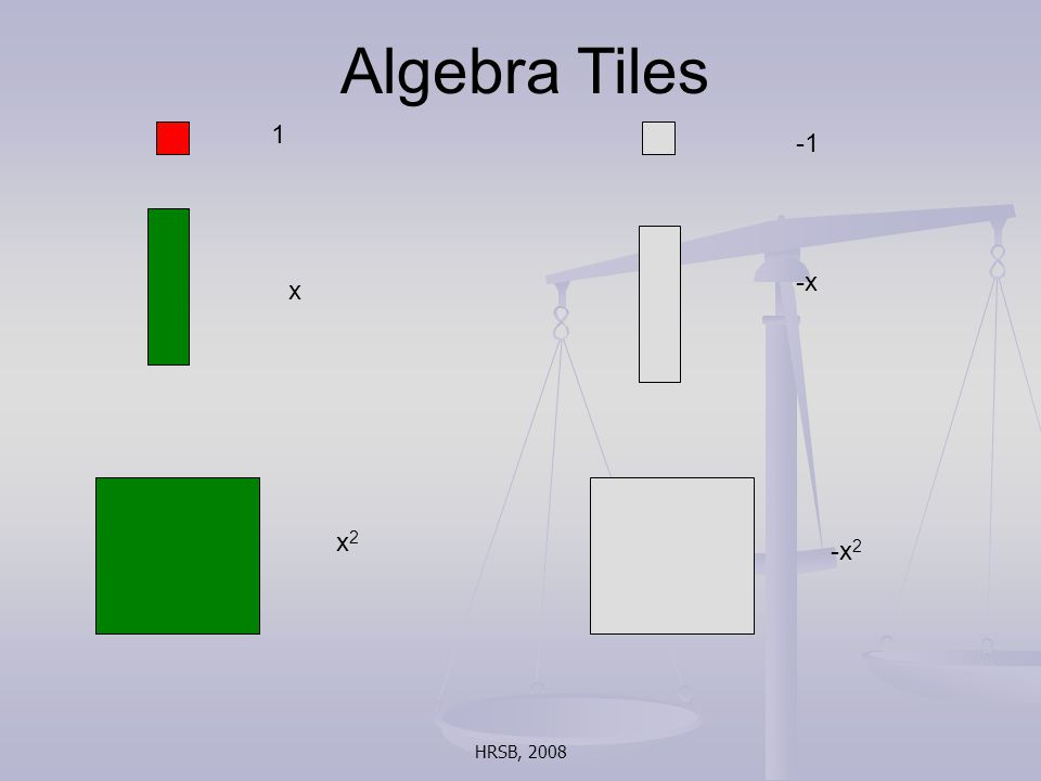 HRSB, 2008 Algebra Tiles 1 x -x x2x2 -x 2