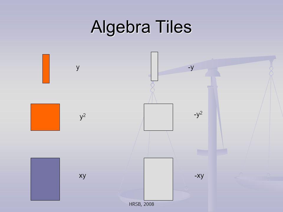 HRSB, 2008 Algebra Tiles y-y xy -y 2 y2y2 -xy