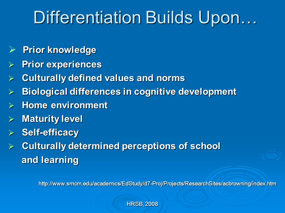 HRSB, 2008 Differentiation Builds Upon…  Prior knowledge  Prior experiences  Culturally defined values and norms  Biological differences in cognit