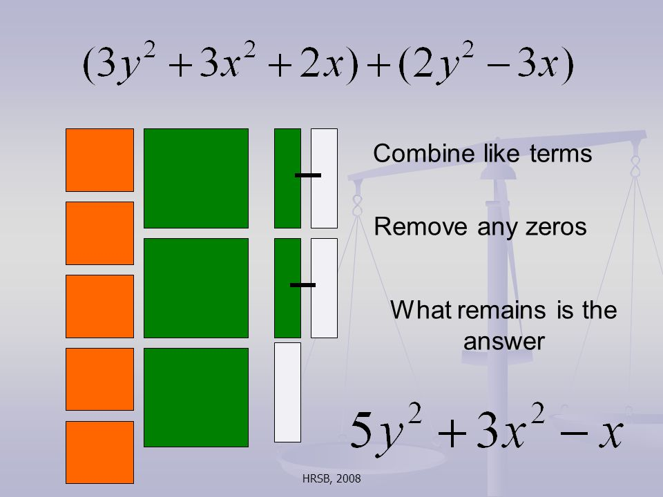 HRSB, 2008 Combine like terms Remove any zeros What remains is the answer
