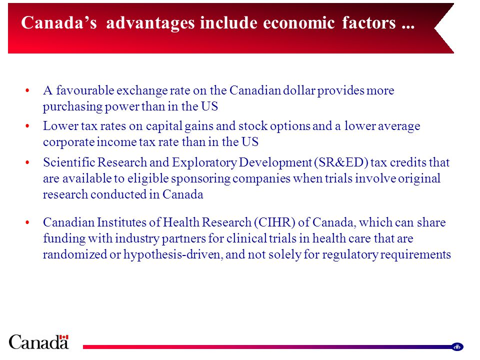 11 A favourable exchange rate on the Canadian dollar provides more purchasing power than in the US Lower tax rates on capital gains and stock options and a lower average corporate income tax rate than in the US Scientific Research and Exploratory Development (SR&ED) tax credits that are available to eligible sponsoring companies when trials involve original research conducted in Canada Canadian Institutes of Health Research (CIHR) of Canada, which can share funding with industry partners for clinical trials in health care that are randomized or hypothesis-driven, and not solely for regulatory requirements Canada's advantages include economic factors...