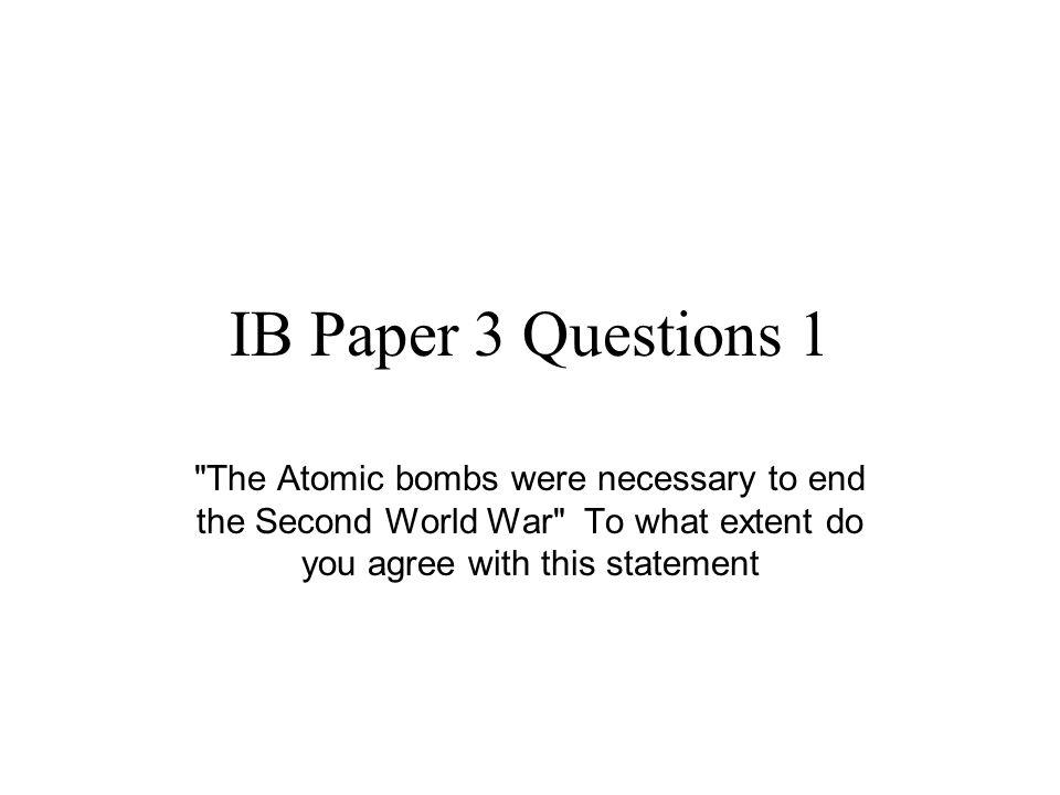 IB Paper 3 Questions 1