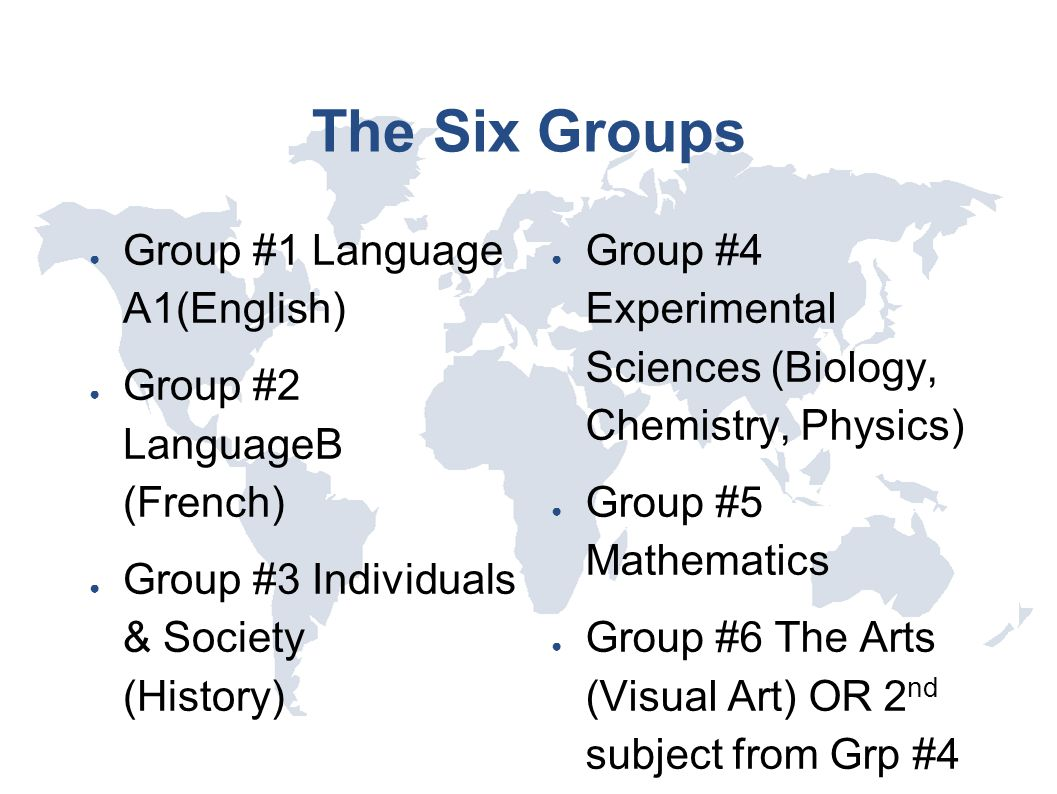 The Six Groups ● Group #1 Language A1(English) ● Group #2 LanguageB (French) ● Group #3 Individuals & Society (History) ● Group #4 Experimental Scienc