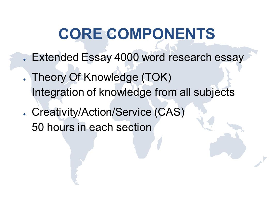 CORE COMPONENTS ● Extended Essay 4000 word research essay ● Theory Of Knowledge (TOK) Integration of knowledge from all subjects ● Creativity/Action/S