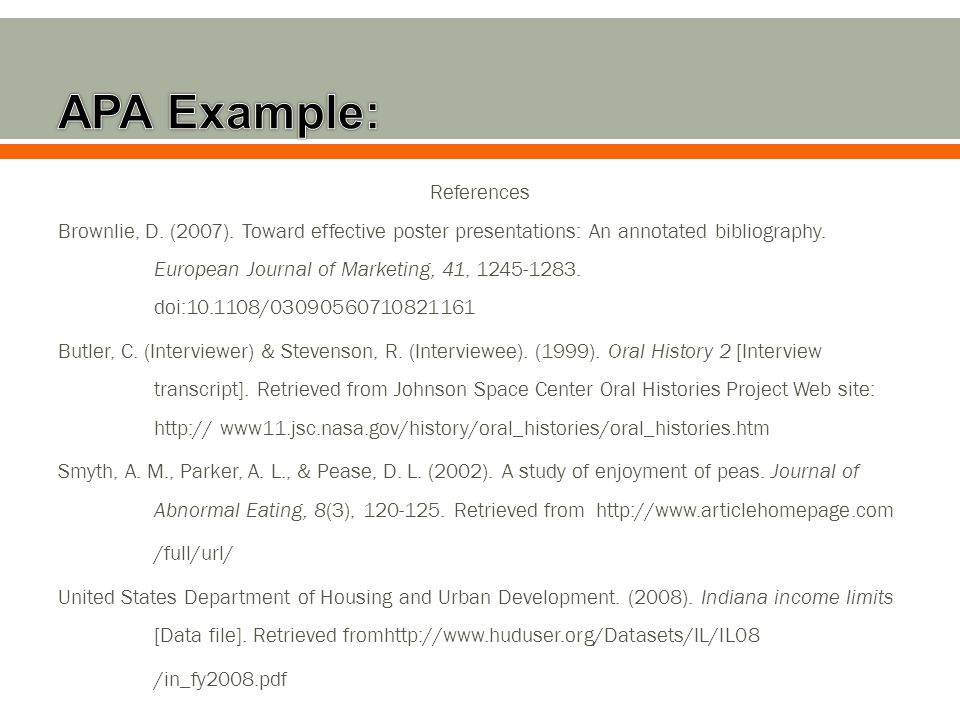 References Brownlie, D. (2007). Toward effective poster presentations: An annotated bibliography.
