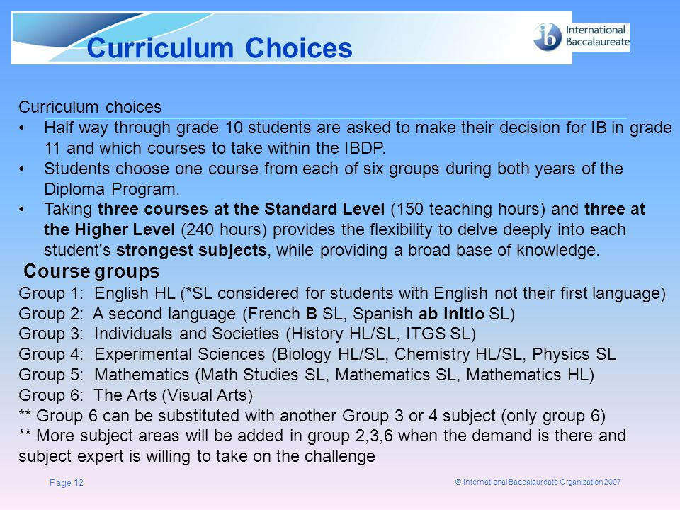 © International Baccalaureate Organization 2007 Curriculum Choices Page 12 Curriculum choices Half way through grade 10 students are asked to make the