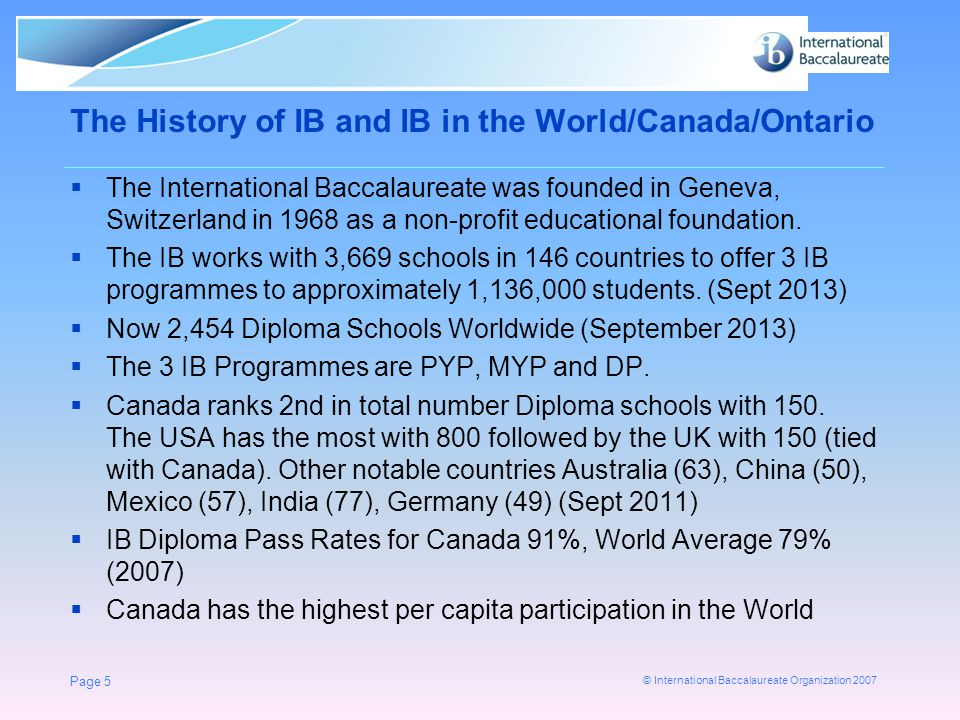 © International Baccalaureate Organization 2007 Predicting first-performance at UBC, 2003 - 2006 The results of the three year study show a strong correlation between graduating with an IB diploma and success during first year at UBC.