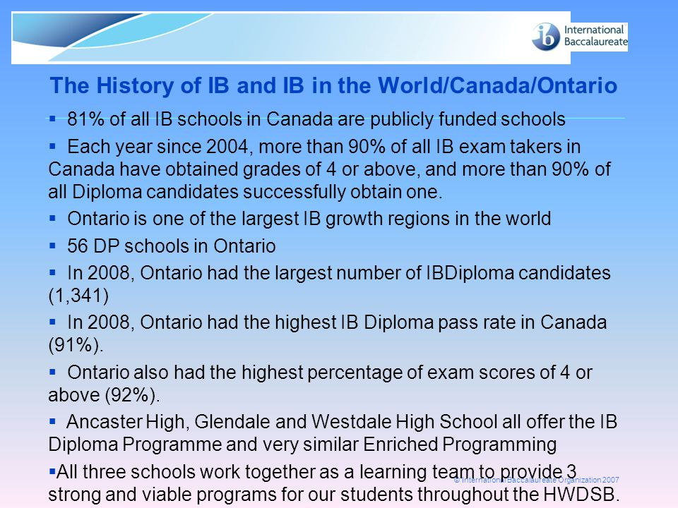 © International Baccalaureate Organization 2007 Adjustment to Grade Conversion Scale Old scale IB242526272829303132333435363738394041424344 45 %676869707172737475767778798081828384858687888990919293949596979899100 New scale IB24252627282930313233343536373839404142434445 %798081828384858687888990919293949596979899 100