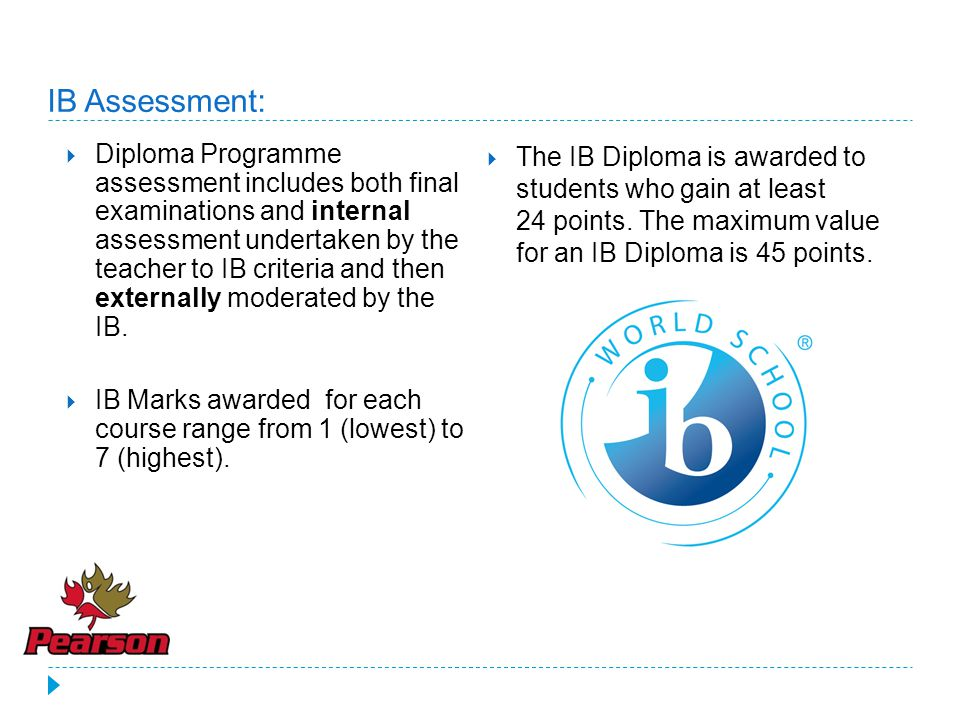 IB Assessment:  Diploma Programme assessment includes both final examinations and internal assessment undertaken by the teacher to IB criteria and then externally moderated by the IB.