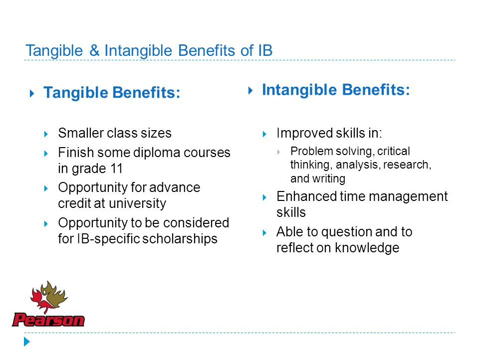 Tangible & Intangible Benefits of IB  Tangible Benefits:  Smaller class sizes  Finish some diploma courses in grade 11  Opportunity for advance credit at university  Opportunity to be considered for IB-specific scholarships  Intangible Benefits:  Improved skills in:  Problem solving, critical thinking, analysis, research, and writing  Enhanced time management skills  Able to question and to reflect on knowledge