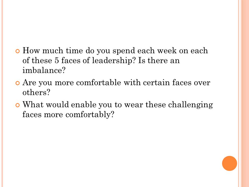 How much time do you spend each week on each of these 5 faces of leadership? Is there an imbalance? Are you more comfortable with certain faces over o