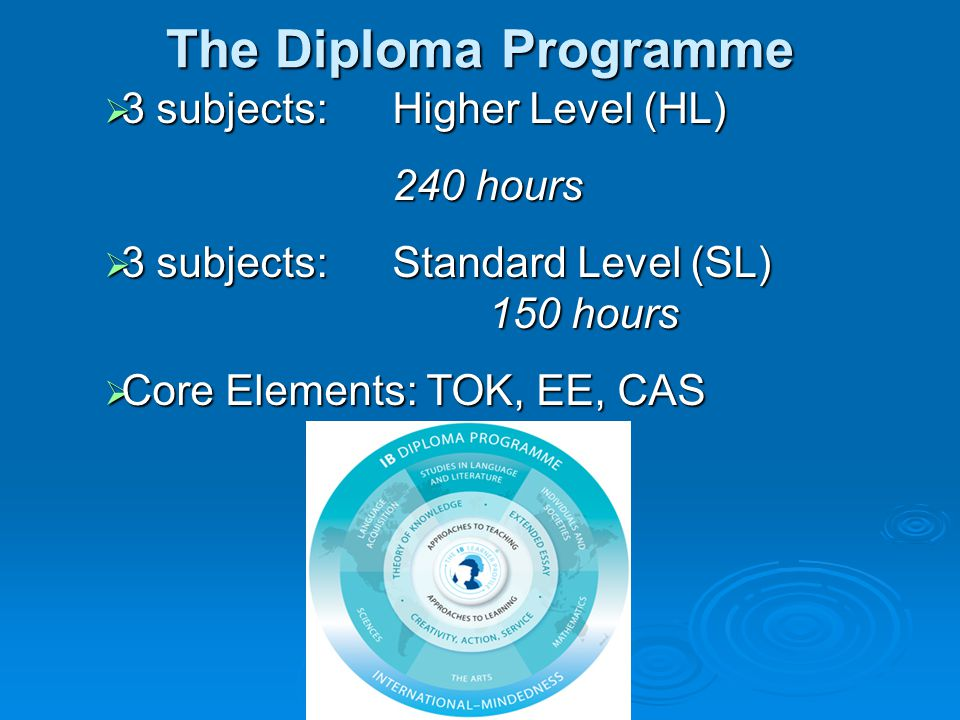 The Diploma Programme  3 subjects: Higher Level (HL) 240 hours  3 subjects: Standard Level (SL) 150 hours  Core Elements: TOK, EE, CAS