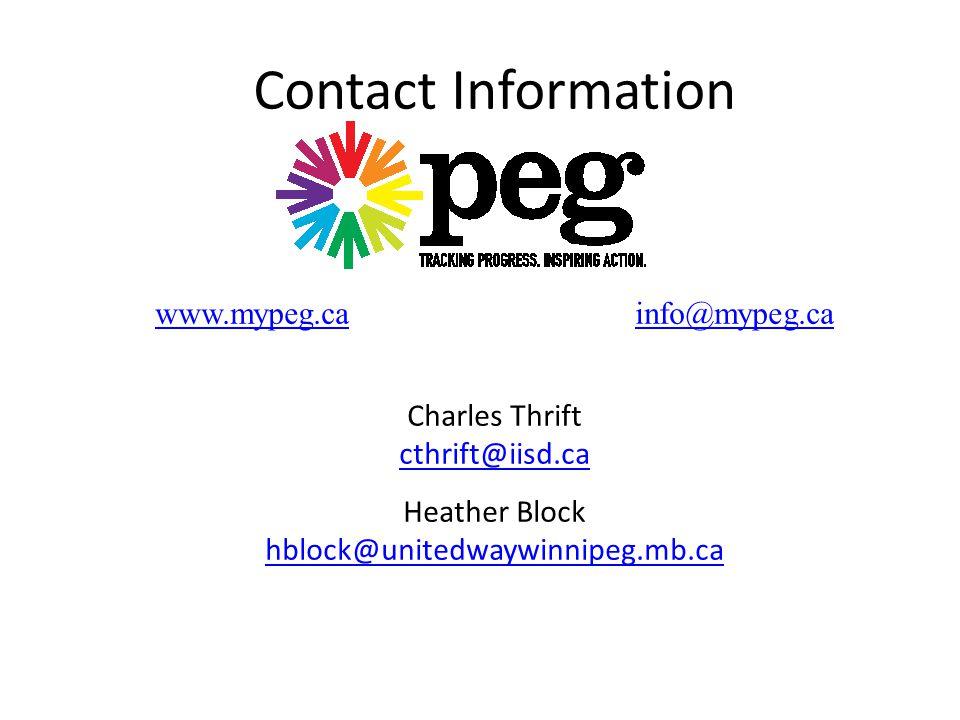Contact Information Charles Thrift cthrift@iisd.ca Heather Block hblock@unitedwaywinnipeg.mb.ca www.mypeg.cainfo@mypeg.ca