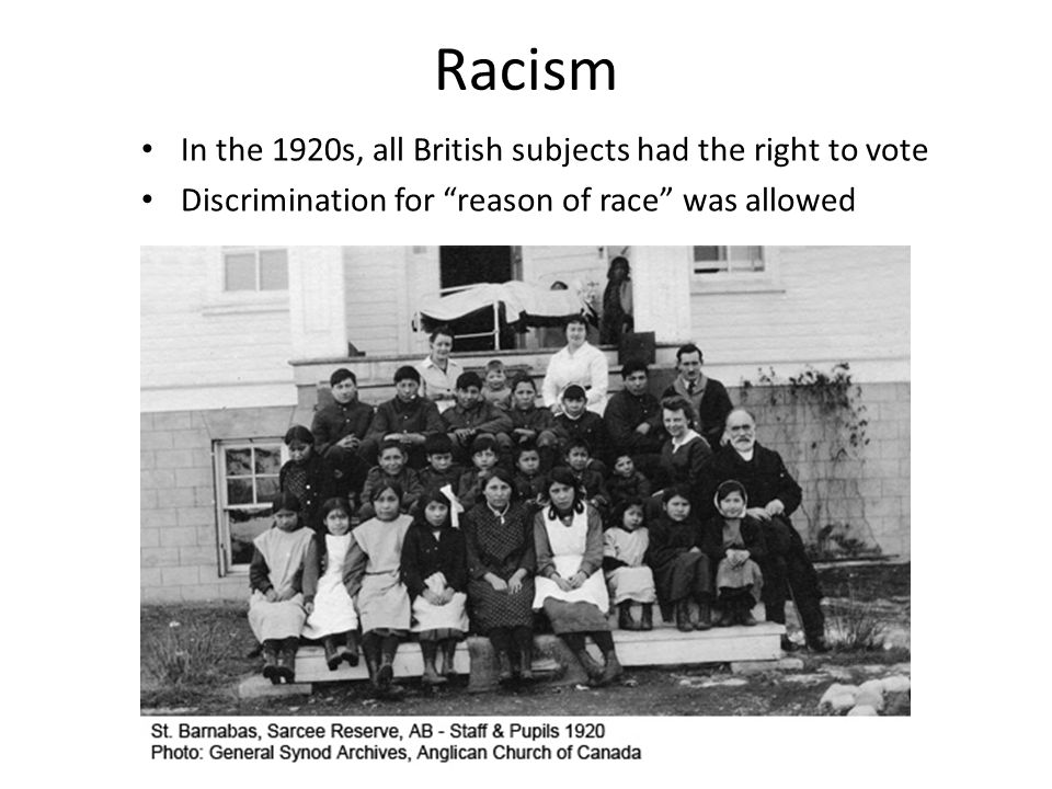 "Racism In the 1920s, all British subjects had the right to vote Discrimination for ""reason of race"" was allowed"