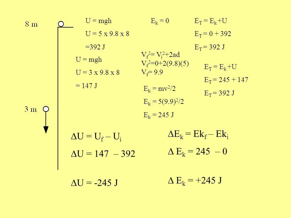 U = mgh U = 5 x 9.8 x 8 =392 J E k = 0E T = E k +U E T = 0 + 392 E T = 392 J U = mgh U = 5 x 9.8 x 3 = 147 J V f 2 = V i 2 +2ad V f 2 =0+2(9.8)(5) V f = 9.9 E k = mv 2 /2 E k = 5(9.9) 2 /2 E k = 245 J E T = E k +U E T = 245 + 147 E T = 392 J