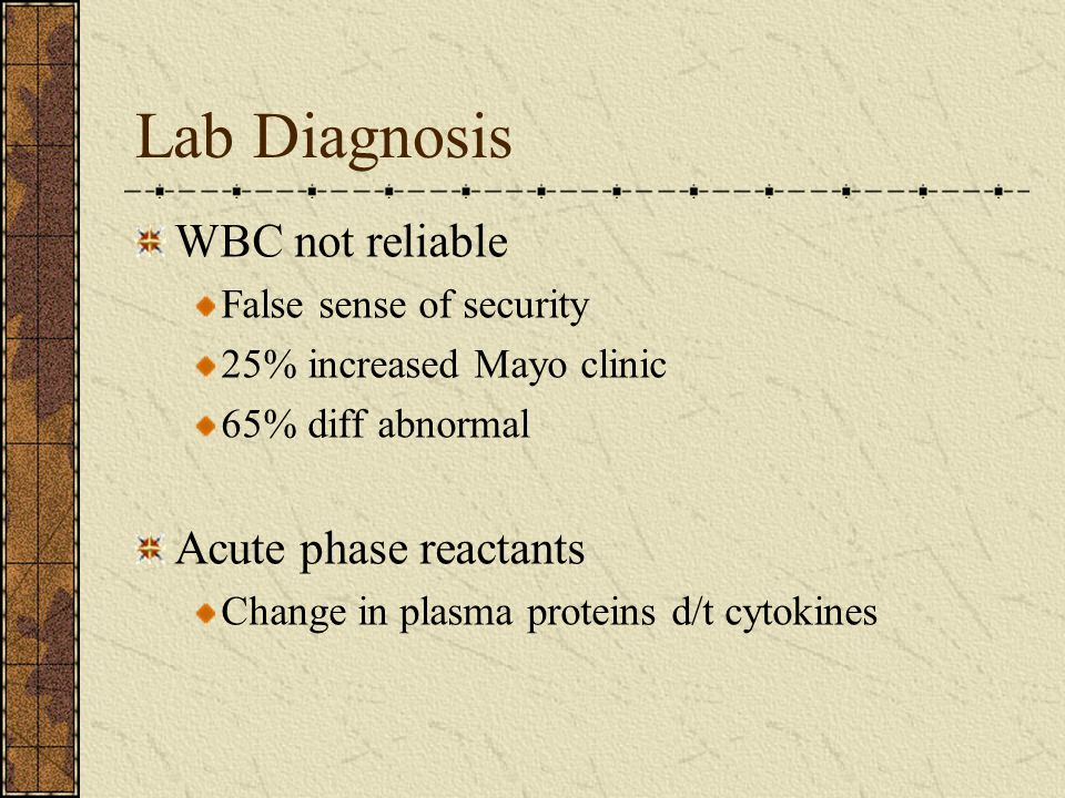 Lab Diagnosis WBC not reliable False sense of security 25% increased Mayo clinic 65% diff abnormal Acute phase reactants Change in plasma proteins d/t cytokines