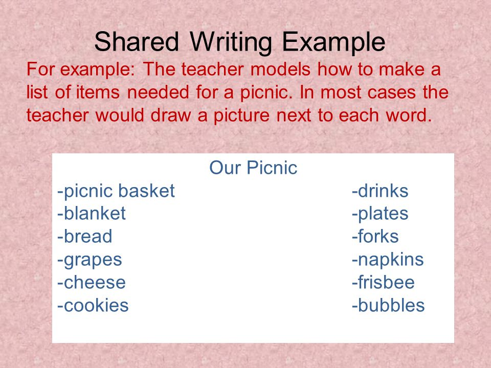 Shared Writing Example For example: The teacher models how to make a list of items needed for a picnic. In most cases the teacher would draw a picture