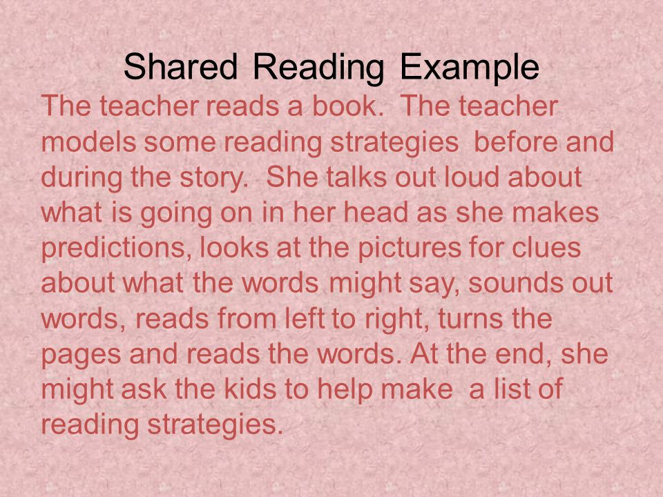 Shared Reading Example The teacher reads a book.