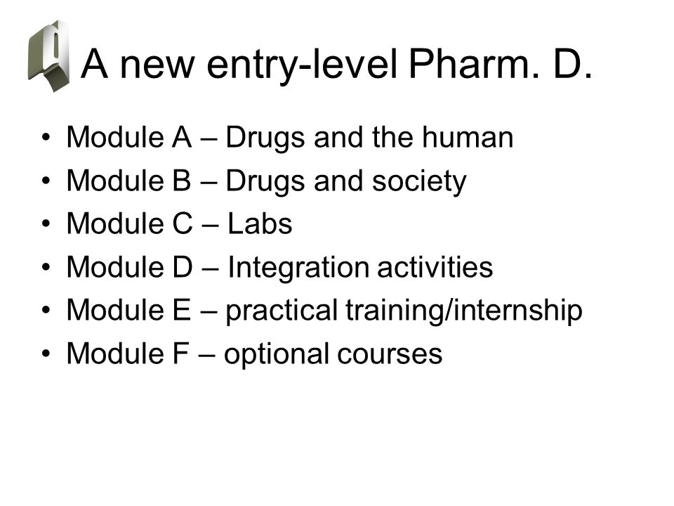 Module A – Drugs and the human Module B – Drugs and society Module C – Labs Module D – Integration activities Module E – practical training/internship Module F – optional courses