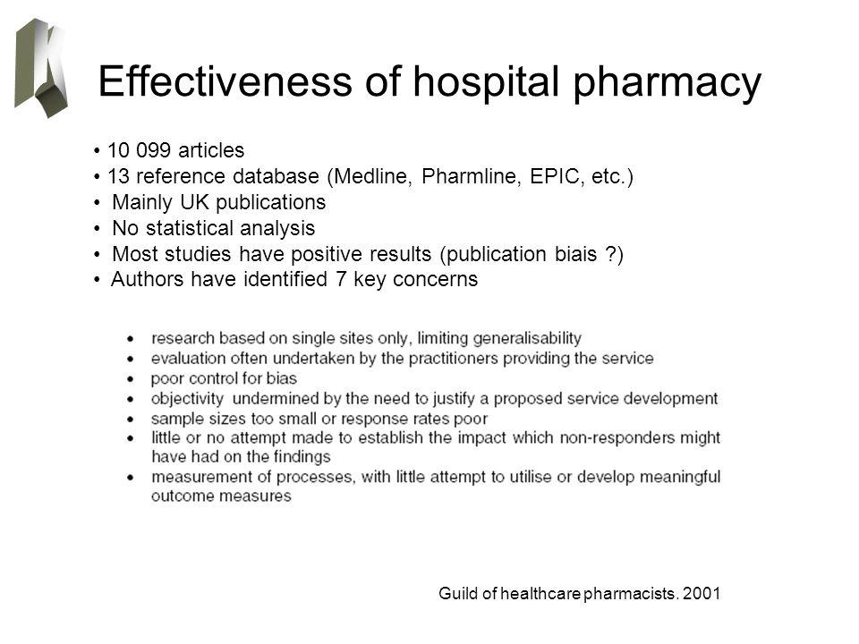 Effectiveness of hospital pharmacy Guild of healthcare pharmacists. 2001 10 099 articles 13 reference database (Medline, Pharmline, EPIC, etc.) Mainly