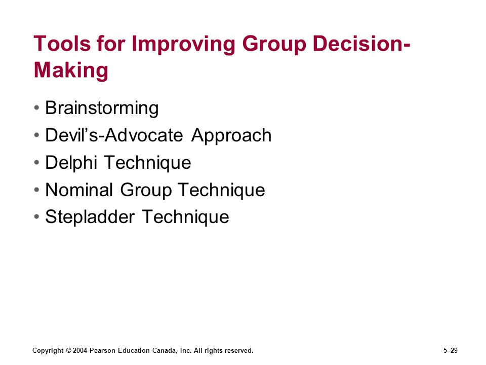 Copyright © 2004 Pearson Education Canada, Inc. All rights reserved.5–29 Tools for Improving Group Decision- Making Brainstorming Devil's-Advocate App