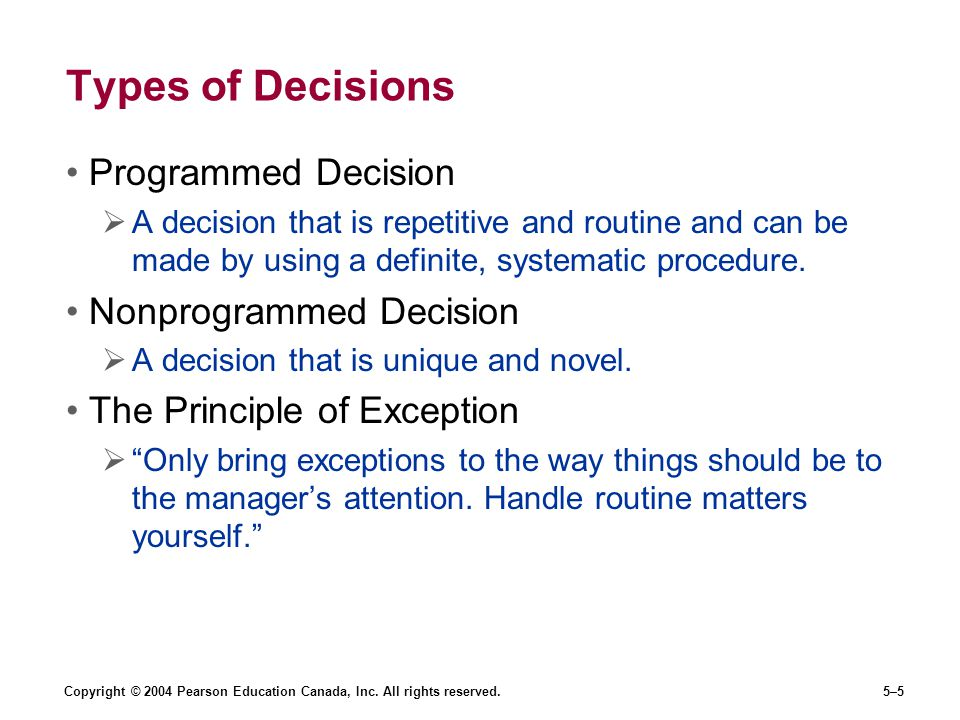 Copyright © 2004 Pearson Education Canada, Inc. All rights reserved.5–5 Types of Decisions Programmed Decision  A decision that is repetitive and rou